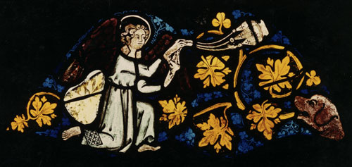 Fig. 1. Corrosion to glass from a choir window in Altenberg cathedral (c.1260),             probably resulting from mechanical cleaning.